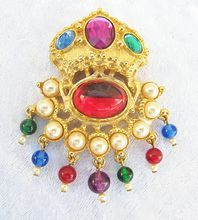 KJL Faux Pearls and Gems Regal Crown Brooch from: vintage Jewelry Girl! #vintagejewelry