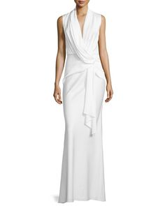 Camilla and Marc	 Sleeveless Cowl-Neck Drape-Front Gown