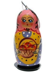 Russian wooden Christmas ornament of babushka with apples in apron