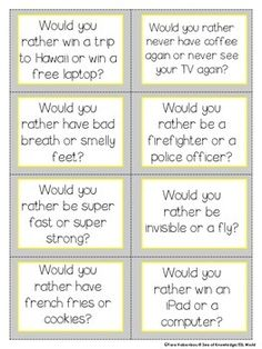 Would You Rather Questions - Writing Prompts and Task Cards Writing Skills, Writing Prompts, Kids Questions, Tricky Questions, Funny Questions, Would You Rather Questions, This Or That Questions, Icebreaker Activities, Icebreakers