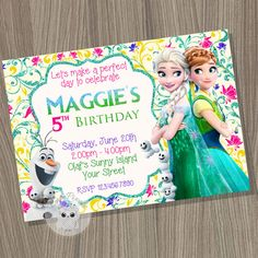 Frozen Fever Invitation, Frozen Invitation, Disney Frozen, Frozen Fever, Frozen Birthday, Frozen Party, Frozen Birthday Invitation by CutePixels. ★ Matching Party Decorations http://etsy.me/21a58Ub  εїз WHAT IS IT? ☀ This listing is for a digital file (JPEG) for you to print or send by