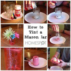 How to tint a mason jar diy craft crafts easy crafts easy diy home crafts diy decorations mason jars craft decor craft room craft coasters craft home decor mason jar crafts