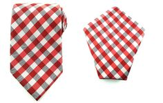 Mens Necktie Red Black White 8.5 CM Necktie and Pocket Square.