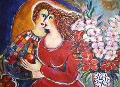 Lovers With Bouquet by Zamy Steynovitz, Original Painting, Acrylic on Canvas