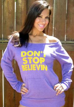 Don't Stop Believin'. Off the Shoulder Girly Sweatshirt Size LARGE. $38.00, via Etsy.