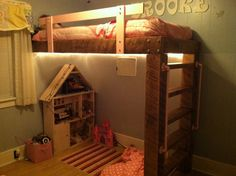 Rustic loft bed handcrafted by Jason.