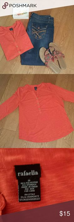 Gorgeous Bright Orange Top sz Medium Great looking top in excellent condition. Materials : polyester and spandex. Looks good with jeans as pictured or with white pants or capris. Rafaella Tops