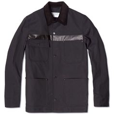 Over All Master Cloth Chest Stripe Chore Jacket Black