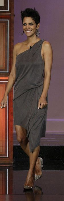 Halle Berry - Dress - Helmut Lang Shoes - Christian Louboutin Christian Louboutin Pigalle 120 crystal-embellished suede pumps Available for rent only Helmut Lang Rogue Dress