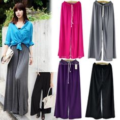 Women's Summer Soft Wide Leg Pantskirt Loose Long Pant Trouser Pajamas Slacks