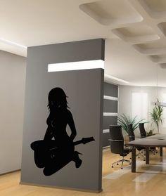 SEXY GIRL WITH GUITAR MUSIC DESIGN WALL VINYL STICKER  DECALS ART MURAL G63 #STICKALZ #MuralArtDecals