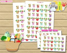 Groceries Printable planner stickers, Kawaii Groceries printable stickers for your Erin condren, Mambi happy planner, mr wonderful