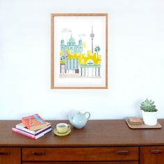 Berlin Print Art Poster, Skyline, wall decor, Cityscape Illustration, Art kids room, nursery, bedroom, Kitchen, Gift, yellow green