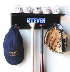 Black Wood Color 5 Baseballs, 2 Bats, Cap, And Glove Display Rack Cabinet Wall Rack Holder