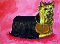 Yorkshire terrier Purse picture dog art print 11x14