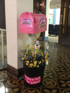 """Vratil Gotcher look at this! """"I created this for Falcon Creek Middle school in Colorado a few years ago, and now I have done one for the PTO here in At Cambridge Elementary in San Antonio Texas. This is a fun cool way to collect box tops. Pta School, School Fundraisers, School Events, School Office, School Ideas, School Secretary Office, School Projects, School Fundraising Ideas, Fundraising Activities"""