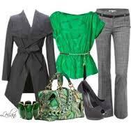 grey and kelly  green work outfit