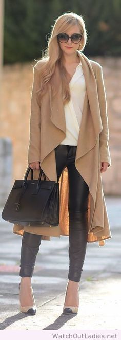 Camel oversize duster coat