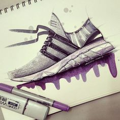 Playing around with Purple on a Personal design. A mix of boost midsole/forefoot, primeknit upper, and EVA outsole. Feedback is always welcome ☺would love to hear from you guys and have a good week. Sneakers Sketch, Shoe Sketches, Industrial Design Sketch, Sneaker Art, Adidas Shoes Women, Sketch Markers, Technical Drawing, Shoe Art, Sketch Design