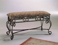 """Trona antique patine bronze metal padded bedroom bench and padded top seat. Measures 38 """" x 15 x H. Some assembly required. Entryway Furniture, Bench Furniture, Furniture For Small Spaces, Furniture Styles, Furniture Design, Bedroom Furniture, Tv Stand And Entertainment Center, Mesh Chair, Bench With Storage"""