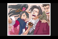 Kay, Edgeworth, and Detective Gumshoe at the end of Ace Attorney Investigations: Miles Edgeworth