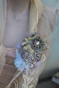 Rainy season  brooch  ethereal bold ornate brooch