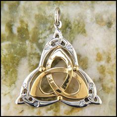 Silver and Gold Triquetra Pendant with Diamond of Tsavorite SW3311