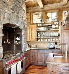 kuchyně dřevo kámen police talíře