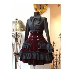 Steampunk lolita deep red wine velvet skirt with waist cincher and grey blouse with matching ruffles. It looks quite nice Steampunk Costume, Steampunk Clothing, Steampunk Fashion, Steampunk Dress, Gothic Steampunk, Mode Lolita, Gothic Lolita Fashion, Velvet Skirt, Lolita Dress