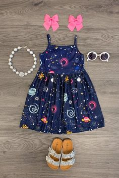 Navy Galaxy Tank Dress - Sparkle In Pink Dresses Kids Girl, Little Girl Outfits, Kids Outfits Girls, Cute Girl Outfits, Cute Outfits For Kids, Toddler Girl Outfits, Toddler Dress, Baby Dress, Baby Girl Fashion