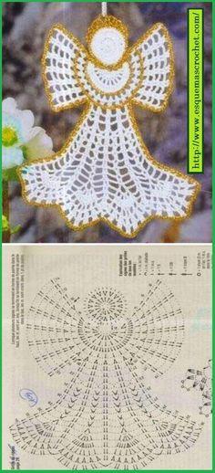 23 Ideas Crochet Christmas Angel Ornaments For 2020 Crochet Angel Pattern, Crochet Angels, Crochet Motifs, Crochet Diagram, Crochet Chart, Thread Crochet, Free Crochet, Crochet Patterns, Crochet Ornaments
