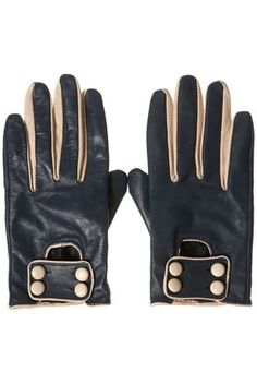 Navy Leather Contrast Button Tab Gloves - Gloves - Accessories - Topshop USA - StyleSays