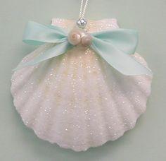 Beach Ornaments - Large Glittered Shell Christmas Beach Ornament - 3.5 - 4 in.. $9.00, via Etsy.