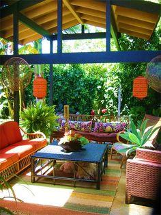 bali outdoor sleeping spaces at DuckDuckGo Outdoor Rooms, Outdoor Gardens, Outdoor Living, Outdoor Furniture Sets, Outdoor Decor, Outdoor Seating, Green Landscape, Patio Design, Garden Inspiration