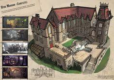Entertainment designs by zhousi xu game art, art, house sketch, concept Fantasy Castle, Fantasy House, Fantasy Map, Building Concept, Building Design, Minecraft Welten, Sims Building, Minecraft Blueprints, Medieval Houses