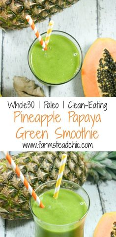 This Pineapple Papaya Green Smoothie is a true tropical treat. The pineapple and. This Pineapple Papaya Green Smoothie is a true tropical treat. The pineapple and papaya make it swe Green Detox Smoothie, Healthy Green Smoothies, Smoothie Prep, Juice Smoothie, Smoothie Drinks, Healthy Drinks, Breakfast Smoothies, Healthy Food, Healthy Recipes
