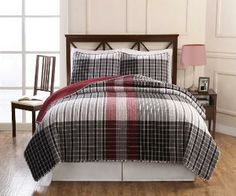 Black and Red Plaid Quilt, Black and Red Plaid Bedding