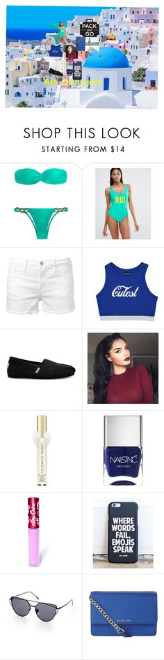"""""""Away in the city"""" by coolocean ❤ liked on Polyvore featuring Missguided, Frame Denim, TOMS, Victoria's Secret, Nails Inc., Lime Crime and MICHAEL Michael Kors"""