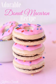 Donut Macaron Recipe - Welcome to our website, We hope you are satisfied with the content we offer. If there is a proble - French Macaroon Recipes, French Macaroons, French Macaron Flavors, Macaroons Flavors, Pink Macaroons, Baking Recipes, Cookie Recipes, Dessert Recipes, Cute Desserts