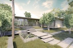 Love this entry... large slabs take you over a water garden and into a glass-walled home.