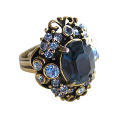 Hollycraft Blue Rhinestone Adjustable Ring