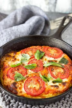 Skillet Margarita Polenta Pizza, a twist on the classic that's gluten-free and vegetarian.