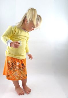 Aline girls skirt orange screen printed by MagnoliaMagg on Etsy, $25.00