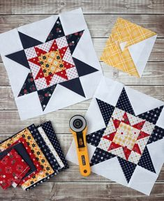 Free Sampler quilt tutorial from Amy Smart - Diary of a Quilter - featuring the the Meet the Maker quilt block patterns from Riley Blake Designs. Star Quilt Blocks, Quilt Block Patterns, Pattern Blocks, Star Quilts, Block Quilt, Star Patterns, Patchwork Patterns, Stitch Patterns, Quilting Tutorials