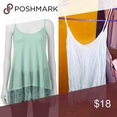 🆕Seafoam Green Eyelash lace hem tank! Only worn a few times no flaws! I cut the tags off because they were itchy! Flowy comfy fit cute to dress up or down brand is FRESHMAN size small! 🎉20% off bundles🎉 Freshman Tops Tank Tops