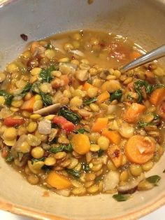 Easy Lentil and Vegetable Soup recipe by Elizabeth Finch. Get more Fall recipes at www.Elizabeth-Finch.com