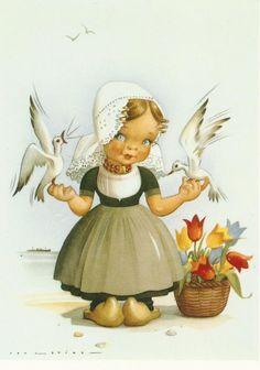 Vintage Ephemera, Vintage Cards, Vintage Postcards, Image Foto, Holland Windmills, Holland Netherlands, Postcard Art, Gif Animé, Dutch Artists
