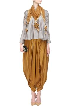 JOY MITRA Grey sequins embroidered flared top and gold dhoti pants with golden scarf