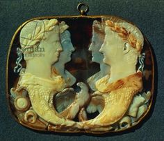 The Gemma Claudia, a cameo bearing profiles of four Roman Emperors, left: Claudius and his wife Agrippina the Younger, right: Germanicus and his wife Agrippina the Elder, 1st century (five-layered sardonyx)