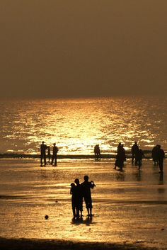 sunset - golden sea (Digha Sea Beach), West Bengal, India